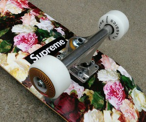 supreme, flowers, and skate image
