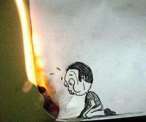 fire, drawing, and funny image