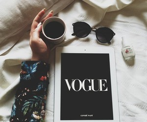 vogue, coffee, and sunglasses image