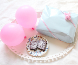 balloons, birthday, and brownies image