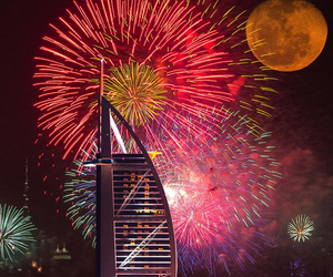 fireworks, night, and Dubai image