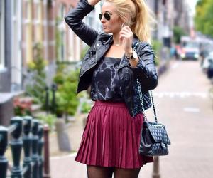 bag, jacket, and mini skirt image