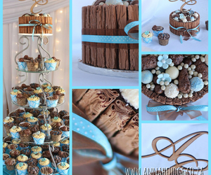 chocolate, cupcakes, and turquoise image