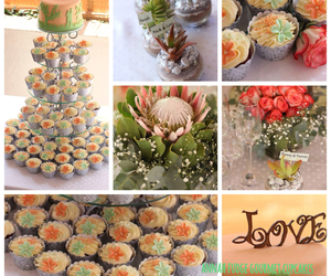coral, roses, and wedding cake image