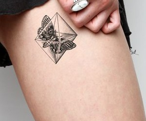 black, butterfly, and tatouage image