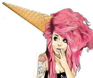 pink, ice cream, and hair image