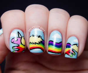 nails, adventure time, and rainbow image