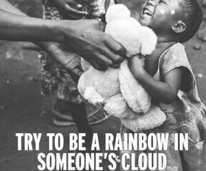 rainbow, black and white, and child image