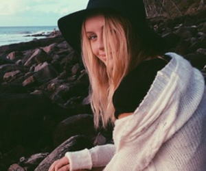 blond, wind, and girl image