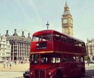 bus, red, and Big Ben image