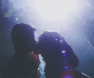 cute couple, kiss, and sea image
