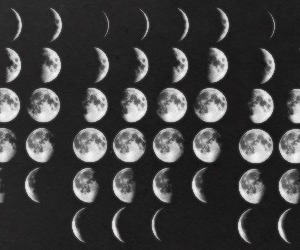 moon, black and white, and grunge image