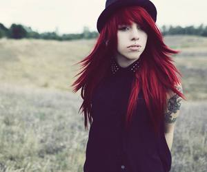 red hair, alt girl, and body mods image