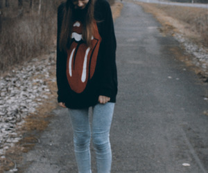 girl, rolling stones, and hipster image
