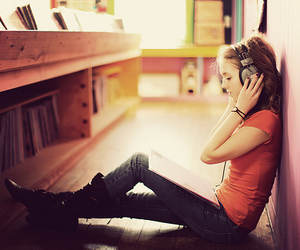 music, girl, and headphones image