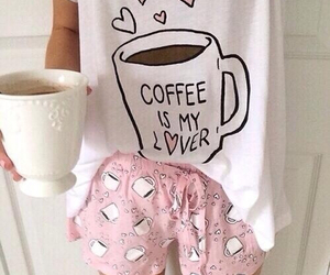 coffee, pink, and pajamas image