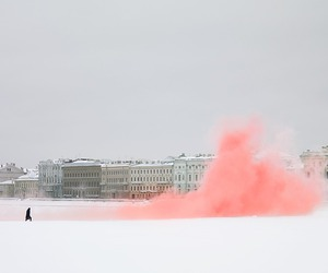pink, snow, and smoke image