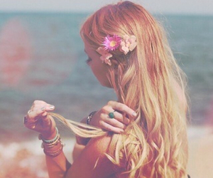 curles, flowers, and hair style image