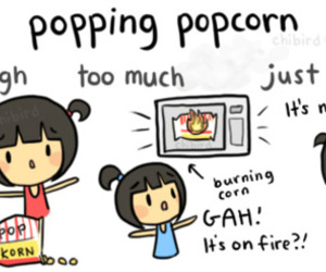 humor, movie, and popcorn image