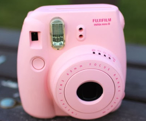 camera, pink, and plaroid image