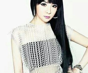 black hair, park bom, and yg family concert image