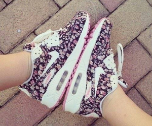 flower, nike air max, and purple image