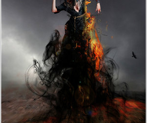 black, Darkness, and fire image