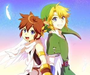 link, pit, and smash bros image