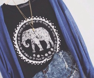 outfit, fashion, and elephant image