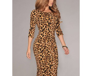 leopard, print, and bodycon dress image
