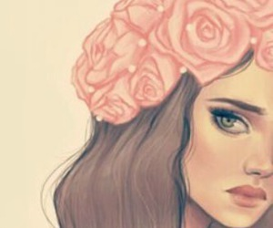 girl, flower, and drawing image