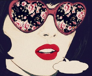 flowers, comic, and lips image