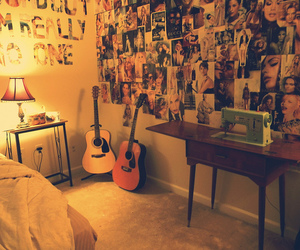 bedroom, guitar, and magazine image