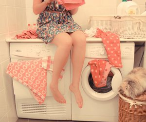 girl, pink, and laundry image