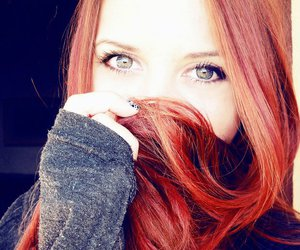 red hair, girl, and eyes image