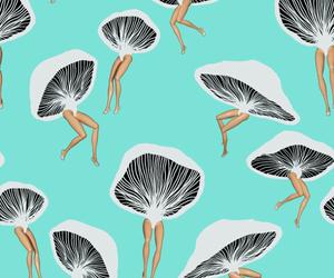 wallpaper, mushroom, and pattern image