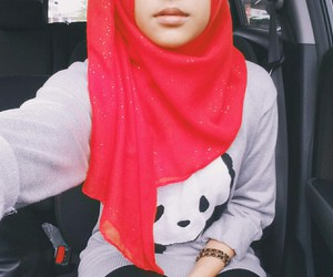 fashion, hijab, and red image