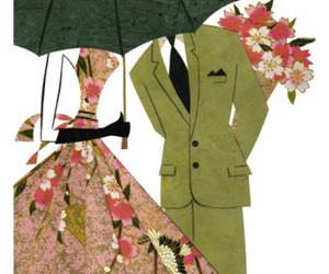 dress, flowers, and illustration image