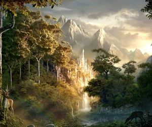 fantasy, mountains, and forest image