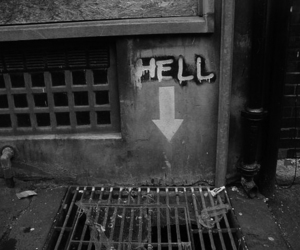 hell, black and white, and street image