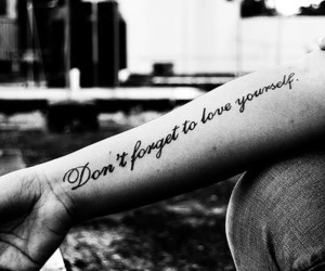 black and white, forget, and love yourself image