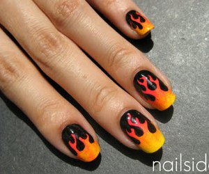 fire, flame, and nail art image