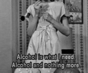 alcohol, black and white, and quote image