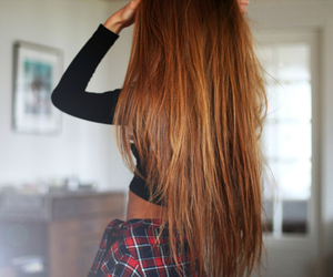 hair, long hair, and brunette image