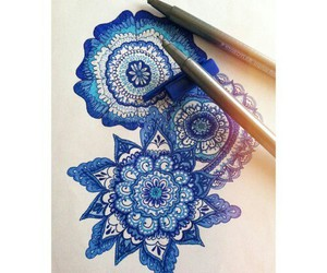 drawing, blue, and flower image