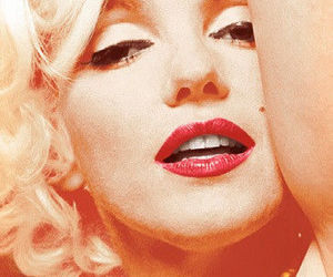 blonde, red lips, and Marilyn Monroe image
