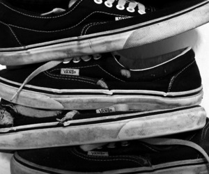 vans, black and white, and shoes image