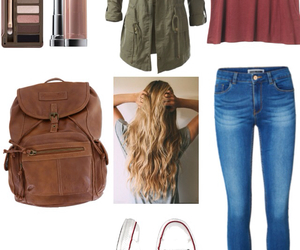 bag, hair, and jeans image