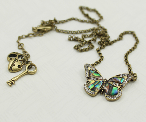 bronze, butterfly, and necklace image