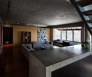contemporary residence, concrete element, and contemporary artworks image